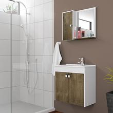 Gabinete para Banheiro com Espelho Dayene 54x56,5x30cm Branco e Avelã Sensea