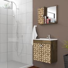 Gabinete para Banheiro com Espelho Dayene 54x56x29,6cm Madeira Rústica/Madeira 3D Moveis Bechara