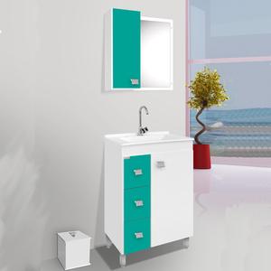 Gabinete para Banheiro com Espelho Ecco com pés 86x56x34 Branco|Verde turquesa Fabribam