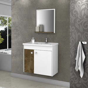 Gabinete para Banheiro com Espelho Eldorado 100x56x29,6cm Branco Madeira Móveis Bechara
