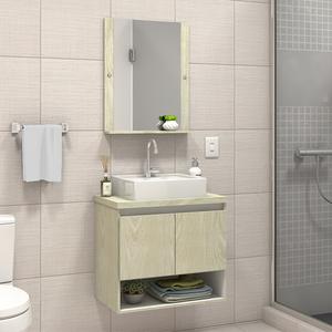 Gabinete para Banheiro com Espelho Karina 52x60x40Cm Artico Darabas Agardi