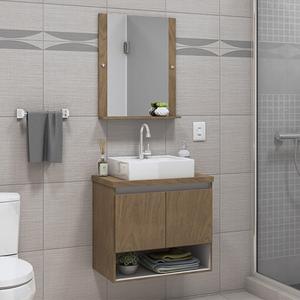 Gabinete para Banheiro com Espelho Karina 52x60x40Cm Ebano Darabas Agardi