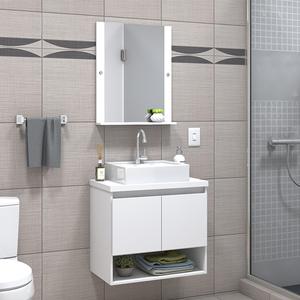 Gabinete para Banheiro com Espelho Karina  52x60x40Cm Branco Darabas Agardi