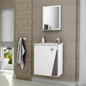 Gabinete Para Banheiro Com Espelho Lisboa 54x46x314cm Branco E Wengle Móveis Bechara