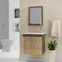 Gabinete para Banheiro com Espelho Petit 45x46x31,4cm Madeira Rústica/Madeira 3D Moveis Bechara
