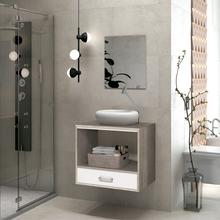Gabinete para Banheiro com Espelho Rio 47x60x40 Barrique e Branco Astral Design