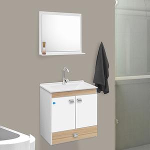 Gabinete Para Banheiro Com Espelho Star 60 58x56x34cm Branco E Carvalho Sensea
