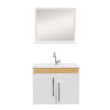 Gabinete para Banheiro com Espelho Tebas 60 45x56x34cm Branco e Carvalho Fabribam