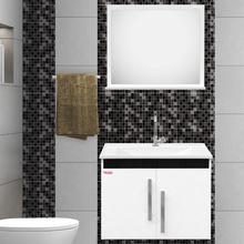 Gabinete para Banheiro com Espelho Tebas 60 45x56x34cm Branco e Preto Fabribam