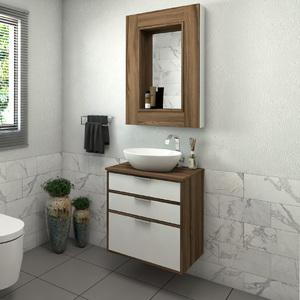 Gabinete para Banheiro Da Vinci 62x60x42Cm Terracota Darabas Agardi