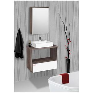 Gabinete para Banheiro Fly 57x60x43cm Branco e Amêndoa Fabribam