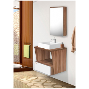 Gabinete para Banheiro Fly 57x60x43cm Branco e Nogal Fabribam