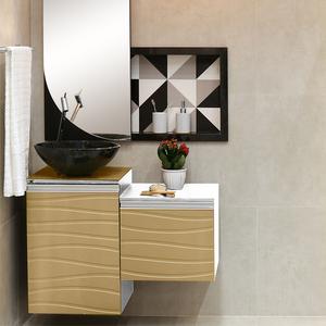Gabinete para Banheiro Marsala 40x45x43cm Branco e Fendi Mazzu
