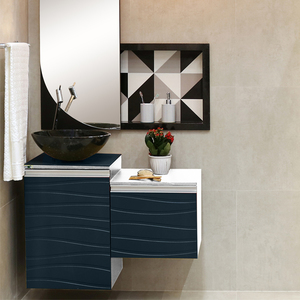Gabinete para Banheiro Marsala 40x45x43cm Branco e Petróleo Mazzu