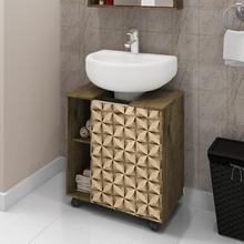 Gabinete para Banheiro de Coluna Pequin 61,5x53,3x37,5cm  Madeira Rústica|Madeira 3D Moveis Bechara