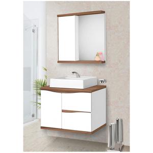 Gabinete para Banheiro Queen 45x60x42cm Branco e Nogal Fabribam