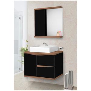 Gabinete para Banheiro Queen 45x60x42cm Preto e Nogal Fabribam