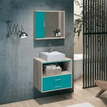 Gabinete para Banheiro Riviera 56x60x40 Brunelo e Azul  Astral Design
