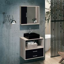 Gabinete para Banheiro Riviera 56x60x40 Brunelo e Onix Preto Astral Design
