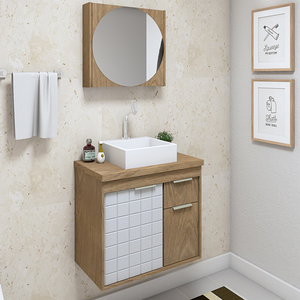 Gabinete para Banheiro Sevilha  59x55x37Cm Ebano  Darabas Agardi