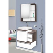 Gabinete para Banheiro Vogue 65 65x65x43cm Branco e Amêndoa Fabribam