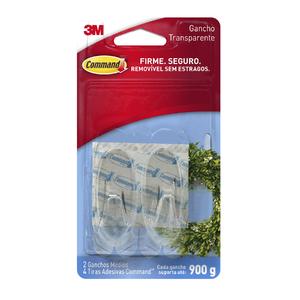 Gancho Adesivo 0,9kg Médio Plástico Transparente Command