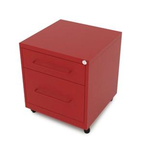Gaveteiro aço Vermelho Office 2 gavetas 50x48zx63CM