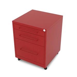 Gaveteiro aço Vermelho Office 3 gavetas 64x48x51cm