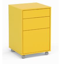 Gaveteiro Madeira Amarelo 70x46,5x45cm 3 Gavetas com Rodas Durban