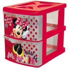 Gaveteiro Minnie Plástico 2 Gavetas 21,5x17,1x24,6cm Vermelho Plasutil