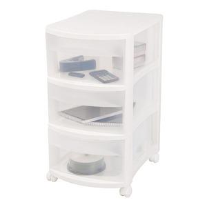 Gaveteiro Plástico 3 Gavetas 54,6x42x31 Branco e Incolor Ordene