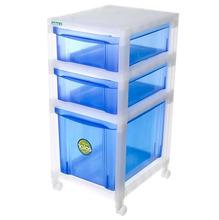 Gaveteiro Plástico 3 Gavetas 74x34x42 Azul e Incolor Ordene