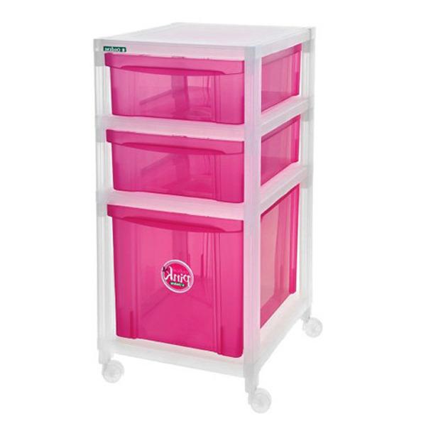 Artesanato Recife Antigo ~ Gaveteiro Plástico Pink e Incolor 74x34x42cm 3 Gavetas com Rodas Radical Ordene Leroy Merlin