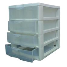 Gaveteiro Plástico Branco e Incolor 4 Gavetas 22,5x18x21cm sem Rodas