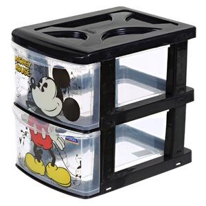 Gaveteiro Plástico Preto e Transparente Mickey 2 Gavetas 25x17x21,5cm Plasútil