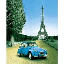 Gravura Paris Blue Car 50x40cm