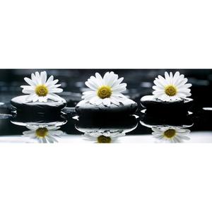 Gravura Flor Branco 10x35cm