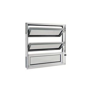 Janela Basculante em Alumínio Natural Acetinado 60x60cm sem grade Aluminium Sasazaki
