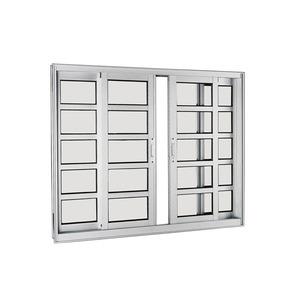 Janela Correr Aluminio Acetinado  S/Bandeira S/Grade C/Vidro Liso 4 Folhas 100,00 X 150,00 X 9,00 Cmaluminium Sasazaki