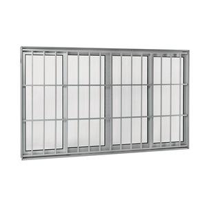 Janela Correr Aluminio Acetinado  S/Bandeira C/Grade Classic C/Vidro Liso 4 Folhas 120,00 X 200,00 X 12,00 Cmaluminium Sasazaki
