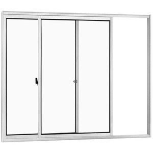 Janela Correr Aluminio Branco  S/Bandeira S/Grade  2 Folhas 100 X 100 X  Cmmarte Trifel