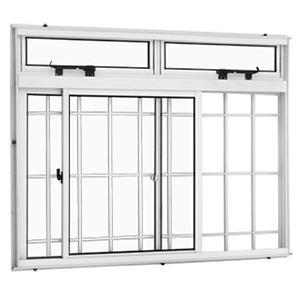 Janela Correr Aluminio Branco  C/Bandeira C/Grade Classic  2 Folhas 100 X 100 X  Cmmarte Trifel