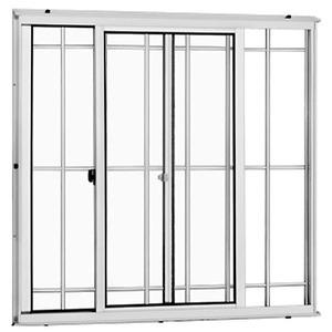Janela Correr Aluminio Branco  S/Bandeira C/Grade Classic  2 Folhas 100 X 120 X  Cmmarte Trifel