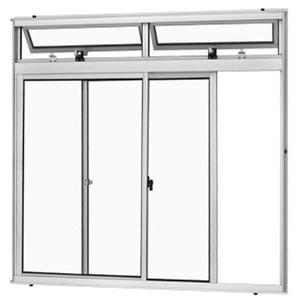 Janela Correr Aluminio Branco  C/Bandeira S/Grade  2 Folhas 100 X 120 X  Cmmarte Trifel