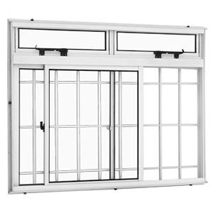 Janela Correr Aluminio Branco  C/Bandeira C/Grade Classic  2 Folhas 100 X 150 X  Cmmarte Trifel