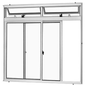 Janela Correr Aluminio Branco  C/Bandeira S/Grade  2 Folhas 100 X 150 X  Cmmarte Trifel