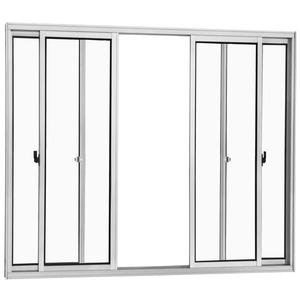 Janela Correr Aluminio Branco  S/Bandeira S/Grade  4 Folhas 100 X 150 X  Cmmarte Trifel