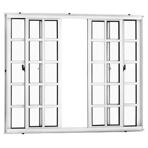 Janela Correr Aluminio Branco  S/Bandeira   4 Folhas 100 X 150 X  Cmmarte Trifel