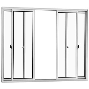 Janela Correr Aluminio Branco  S/Bandeira S/Grade  4 Folhas 100 X 200 X  Cmmarte Trifel