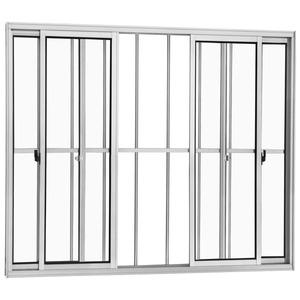 Janela Correr Aluminio Branco  S/Bandeira C/Grade Classic  4 Folhas 100 X 200 X  Cmmarte Trifel